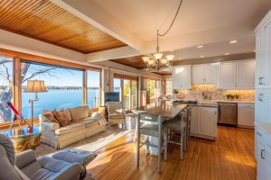 a beautiful professional photo of a kitchen showing views of Canandaigua lake