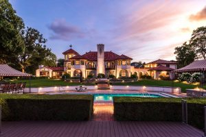 Twilight photograph of a luxury home